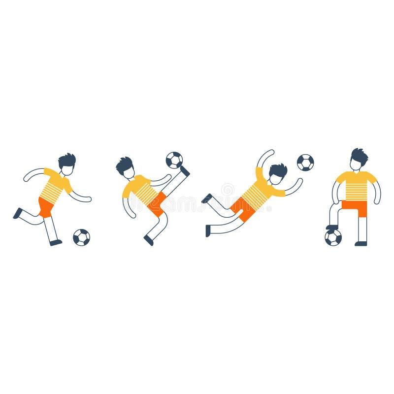 Mette in mostra l'attività, insieme della squadra di calcio di giocatori royalty illustrazione gratis