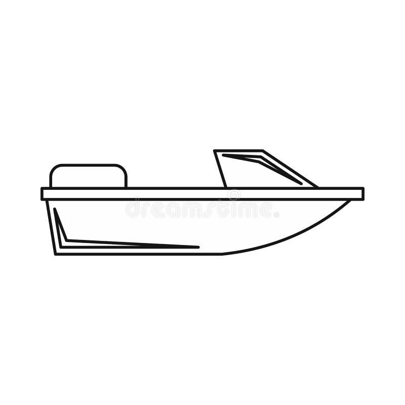 Mette in mostra l'icona di fuoribordo, stile del profilo illustrazione vettoriale