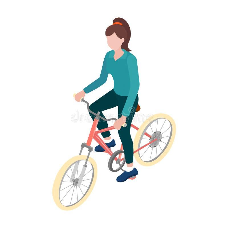 Mette in mostra la ragazza su una bicicletta nella vista isometrica royalty illustrazione gratis