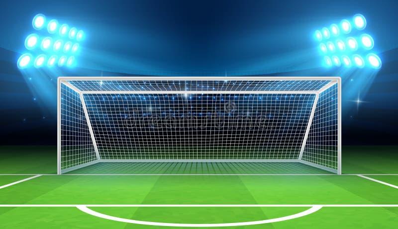 Mette in mostra lo stadio con l'illustrazione di vettore di scopo di calcio illustrazione vettoriale