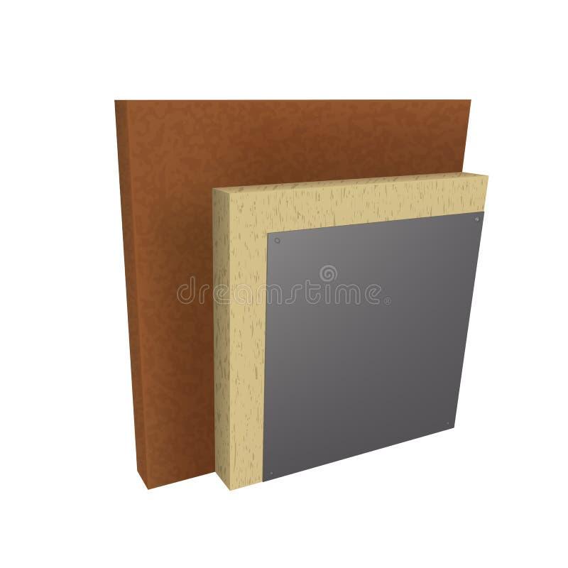 Mette a strati lo schema di isolamento termico della parete illustrazione vettoriale