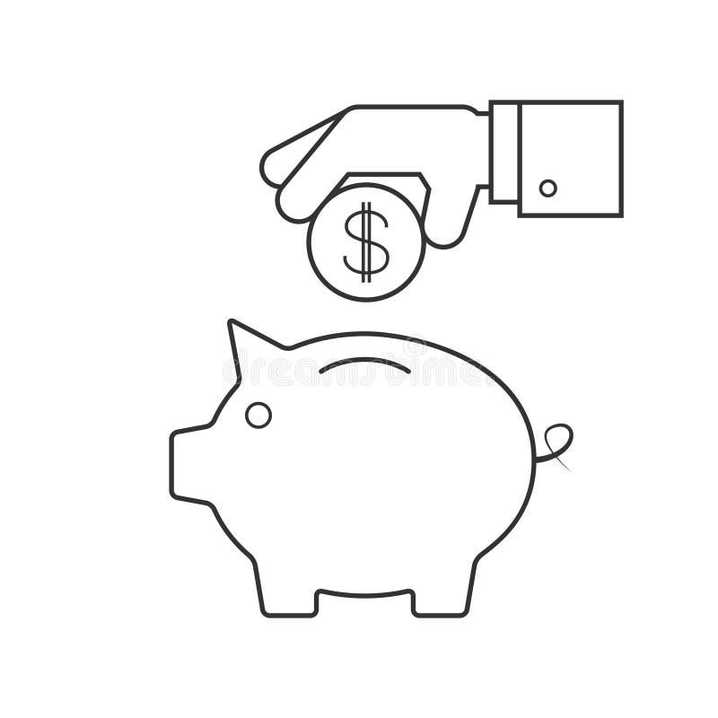 Mettendo moneta in una banca piggy illustrazione vettoriale