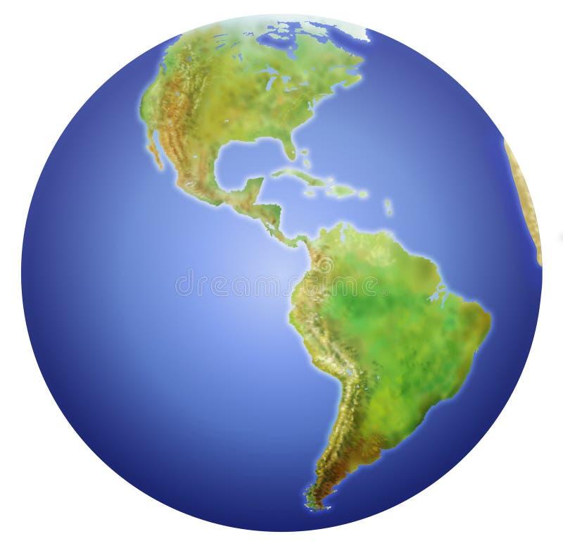 Mettez à la terre afficher du nord, central, et l'Amérique du Sud. illustration stock