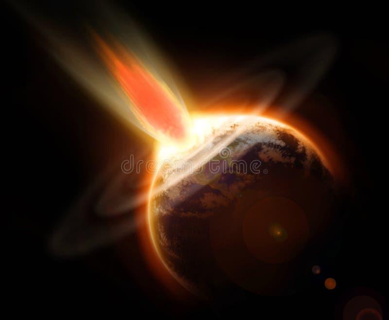 Mettez à la terre l'événement de masse de jour du Jugement dernier d'extinction d'une comète illustration de vecteur