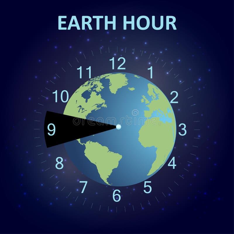 Mettez à la terre l'affiche d'heure de la planète et du fond étoilé de l'espace Économiser de l'énergie Concept d'heure de la ter illustration libre de droits