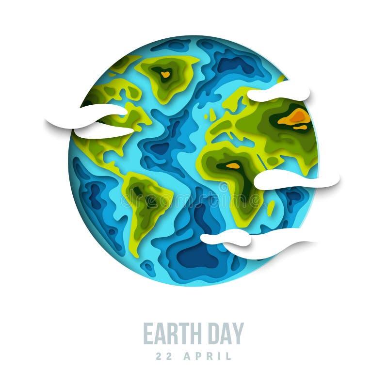 Mettez à la terre la planète avec des nuages, conception de coupe du papier 3d illustration stock