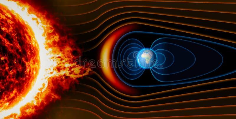 Mettez à la terre le champ magnétique du ` s, la terre, le vent solaire illustration stock
