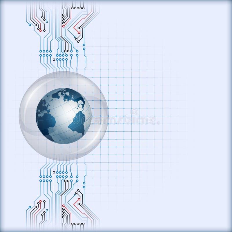 Mettez à la terre le globe à l'intérieur de la sphère du verre avec le circuit électronique derrière illustration stock