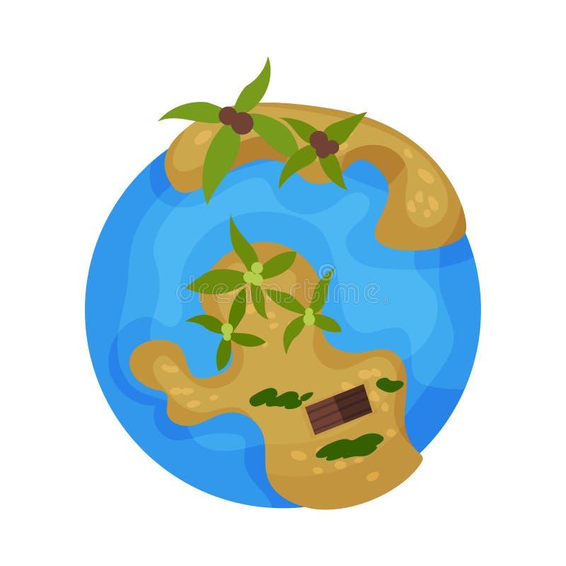 Mettez à la terre le globe de planète avec l'illustration tropicale de vecteur d'îles sur un fond blanc illustration de vecteur