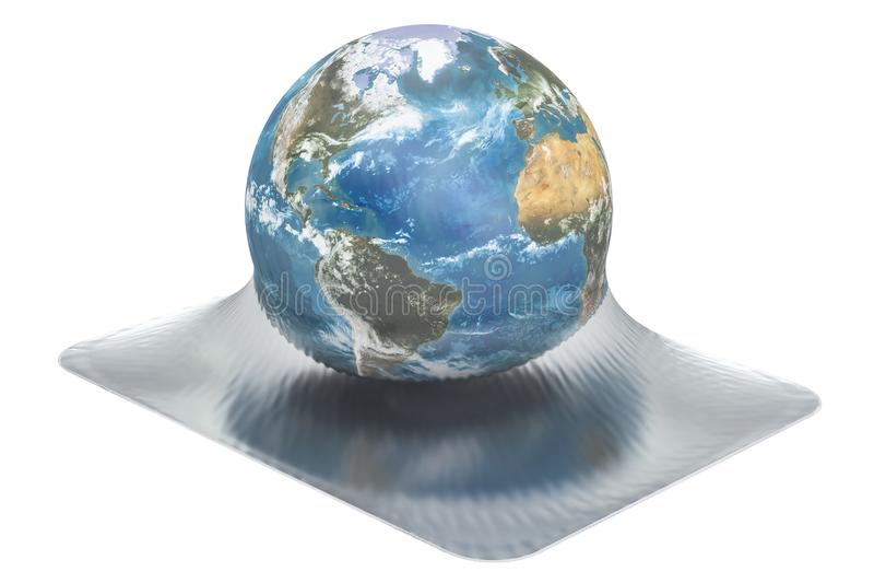 Mettez à la terre le globe enveloppé en film de vide, le rendu 3D illustration stock