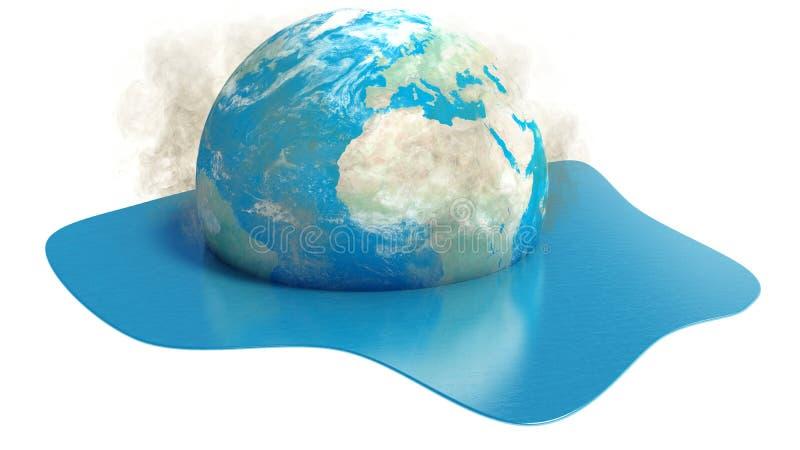 Mettez à la terre le globe fondant dans l'eau sur le fond blanc illustration de vecteur