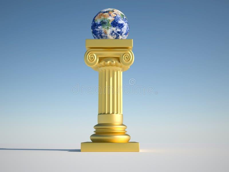 Mettez à la terre le globe sur le fléau illustration de vecteur