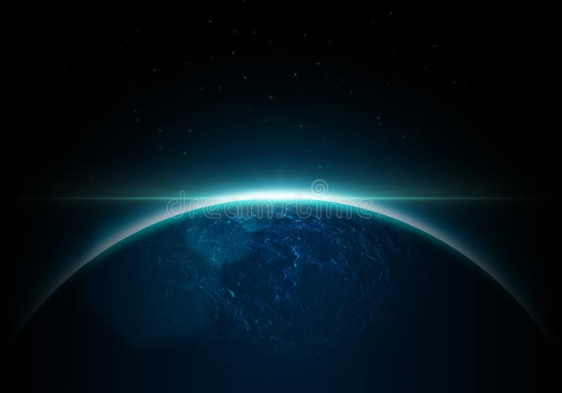 Mettez à la terre la planète dans la beauté avec le lever de soleil dans l'événement de l'espace - lumière bleue illustration libre de droits