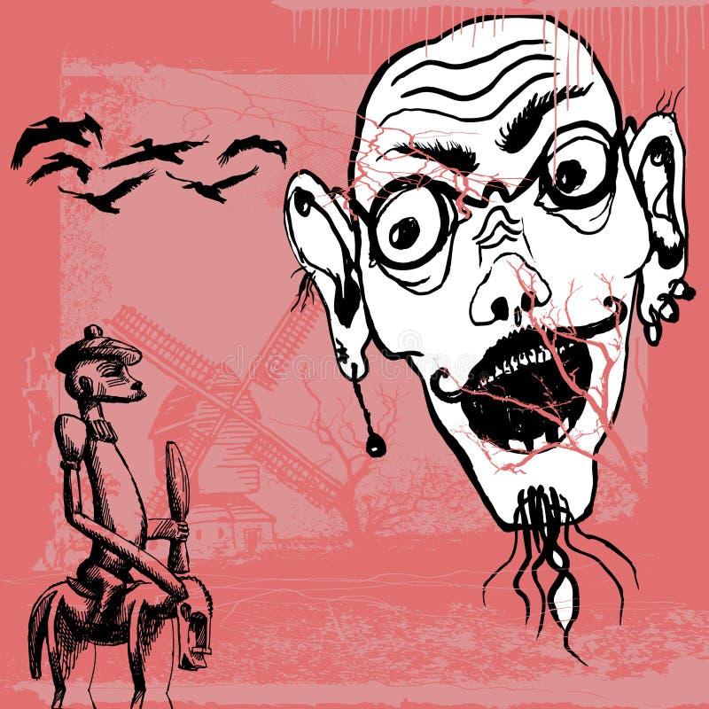 mettez don Quichotte illustration stock