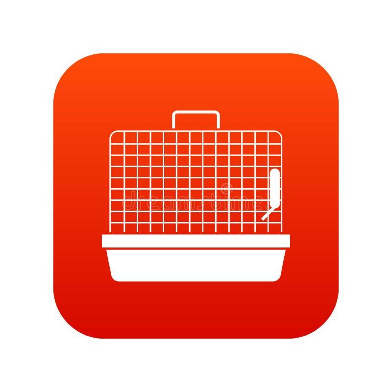 Mettez en cage pour le rouge numérique d'icône d'oiseaux illustration de vecteur
