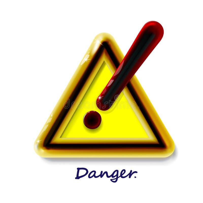 Mettez en danger le signe d'avertissement d'une attention avec le symbole de marque d'exclamation Danger 3d brillant moderne jaun illustration de vecteur