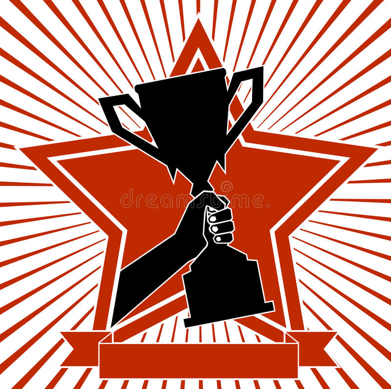 Mettez en forme de tasse dans une main un symbole de victoire illustration de vecteur