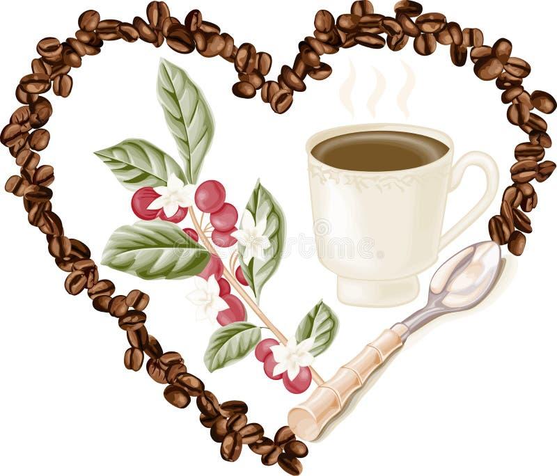 Mettez en forme de tasse le café et les grains de café à l'intérieur au coeur illustration libre de droits