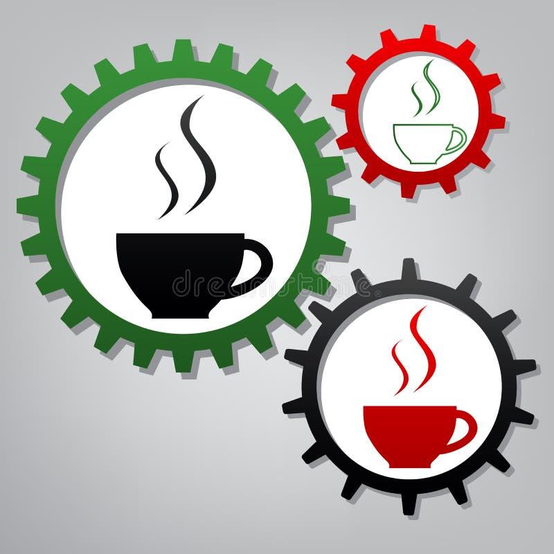 Mettez en forme de tasse le signe avec deux petits courants de fumée Vecteur Connecte trois illustration de vecteur