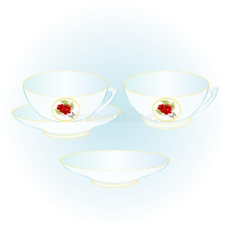 Mettez en forme de tasse une partie de l'illustration rouge de vecteur de vintage de ketmie et de papillon de porcelaine editable illustration stock