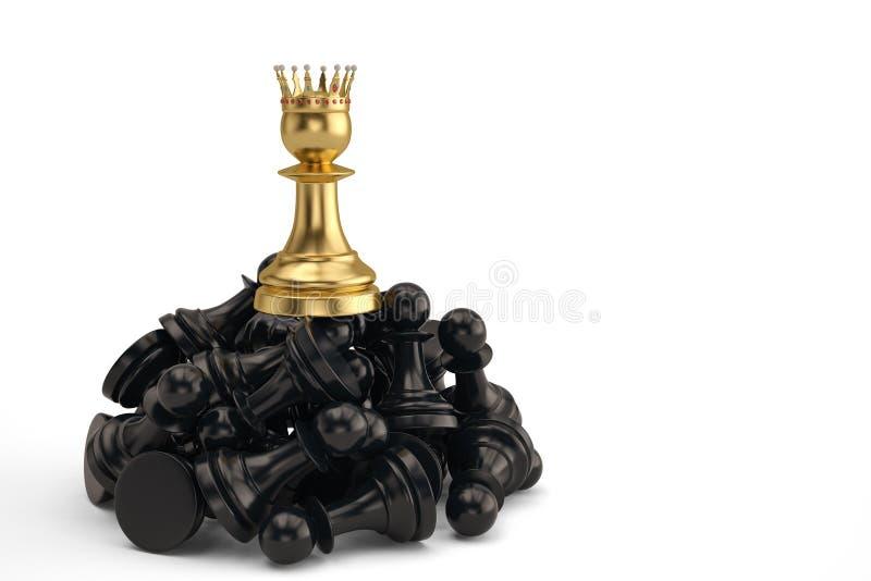 Mettez en gage avec le gagnant d'or de couronne et le concept de succès de vainqueur 3d illustration stock