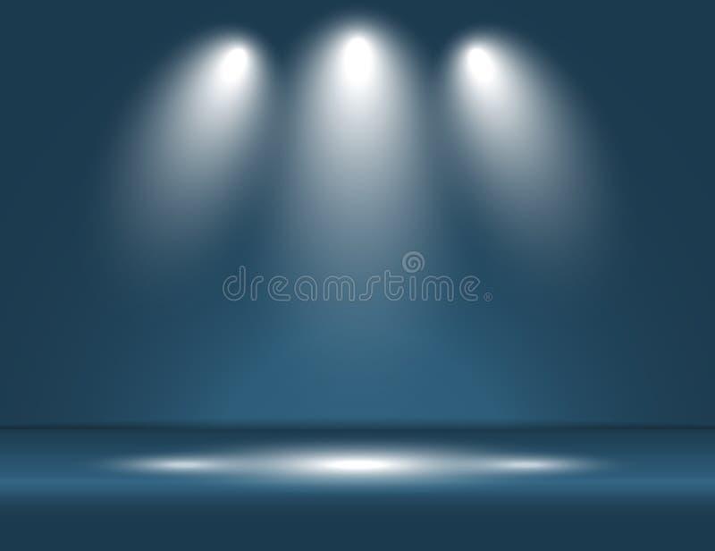 Mettez en lumière le vecteur bleu de fond de studio de pièce de rayons légers illustration stock