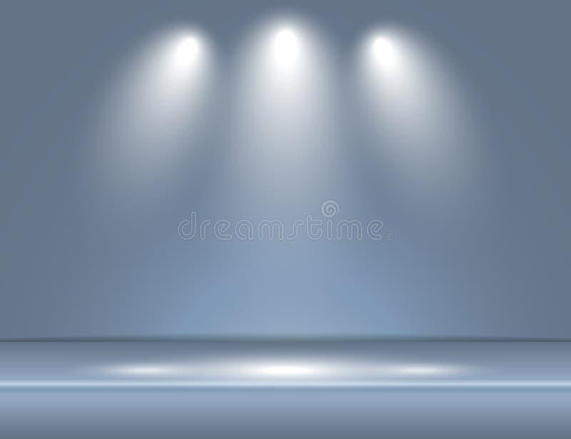 Mettez en lumière le vecteur bleu gris de fond de studio de pièce de rayons légers illustration stock