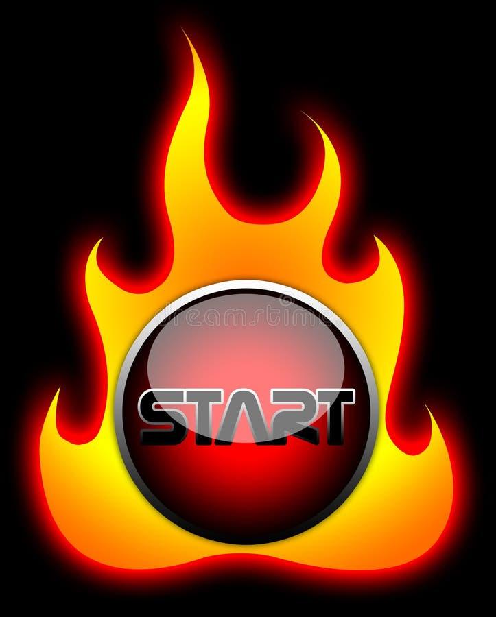 Mettez en marche le bouton de flamme illustration stock