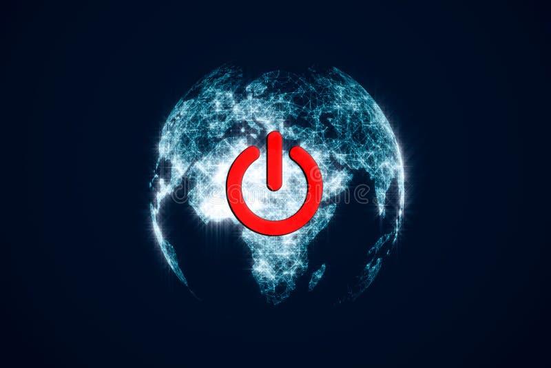 Mettez en marche le bouton rouge sur terre dans l'espace foncé Sur outre de l'interrupteur de lampe d'écologie Un hologramme de l illustration de vecteur