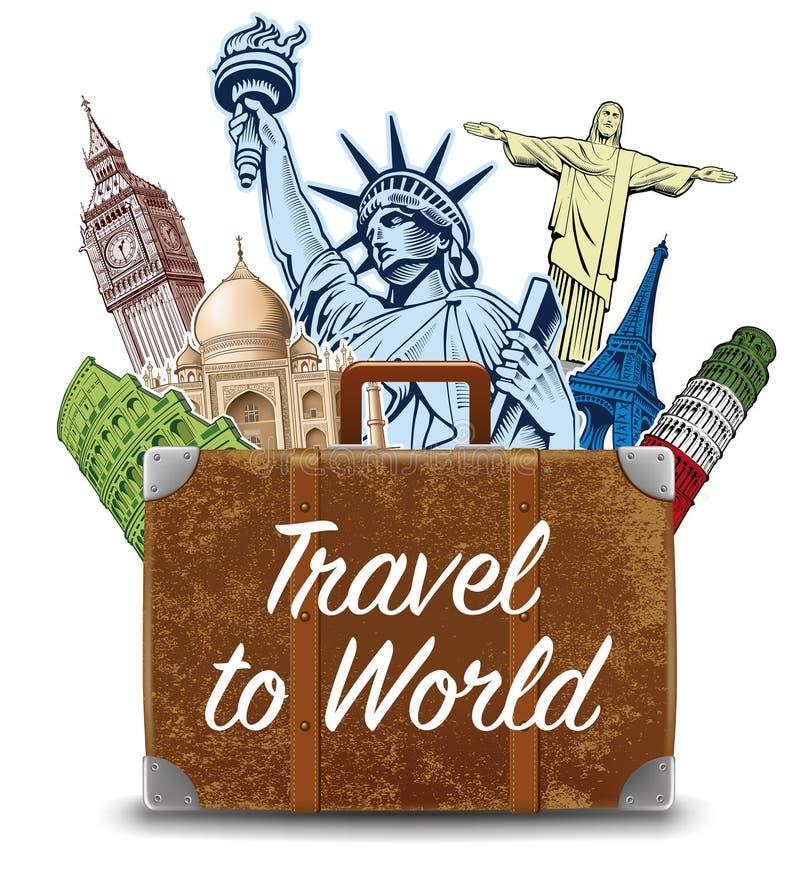 Mettez en sac avec les endroits destination-célèbres NYC, Londres Big Ben, Rome, tour de Paris-Eiffel, Rio de Janeiro-Jesus Statu illustration libre de droits