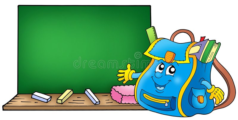 mettez en sac l'école de tableau noir illustration libre de droits