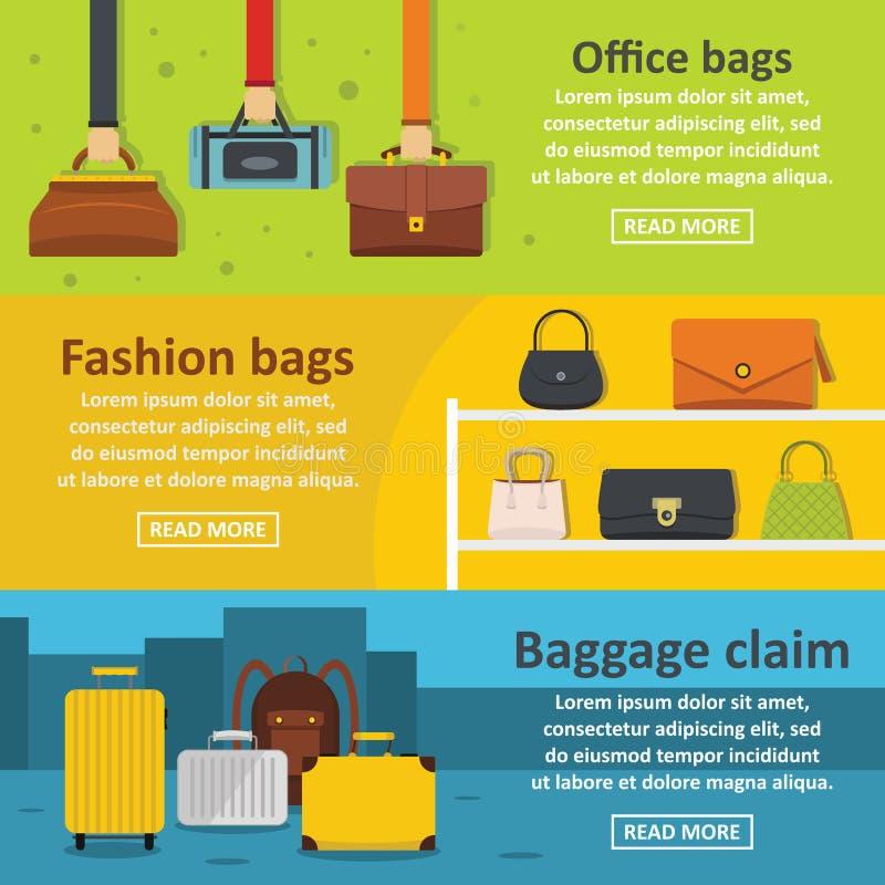 Mettez en sac l'ensemble horizontal de bannière de bagages, style plat illustration stock