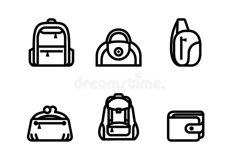 Mettez en sac le symbole de catégorie dans diverses manières pour le Web d'achats de mode et général, illustrateur réglé de vecte illustration de vecteur