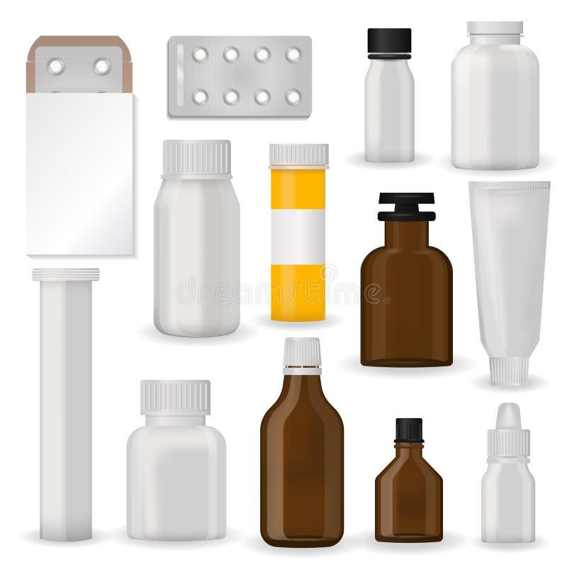 Mettez la boursouflure pharmaceutique de blanc de maquette de calibre de paquet des pilules et capsulez en bouteille le récipient illustration libre de droits