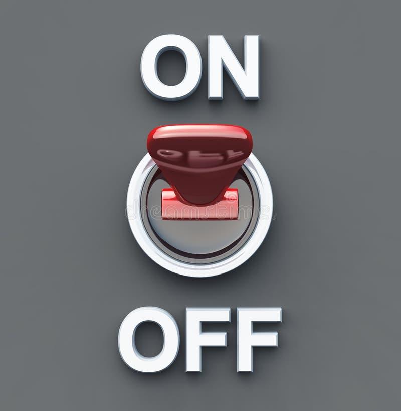 Mettez le commutateur rouge de puissance EN MARCHE - illustration stock