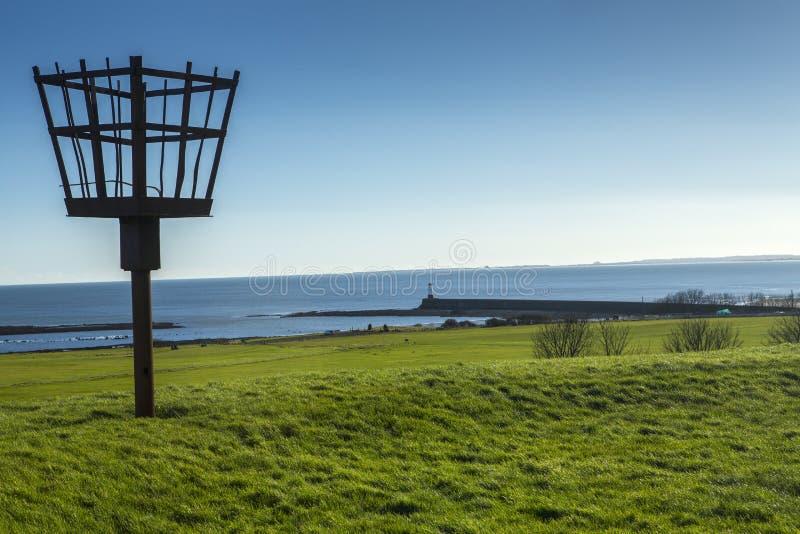 Mettez le feu à la balise sur les fortifications de ville au berwick sur le tweed photo stock