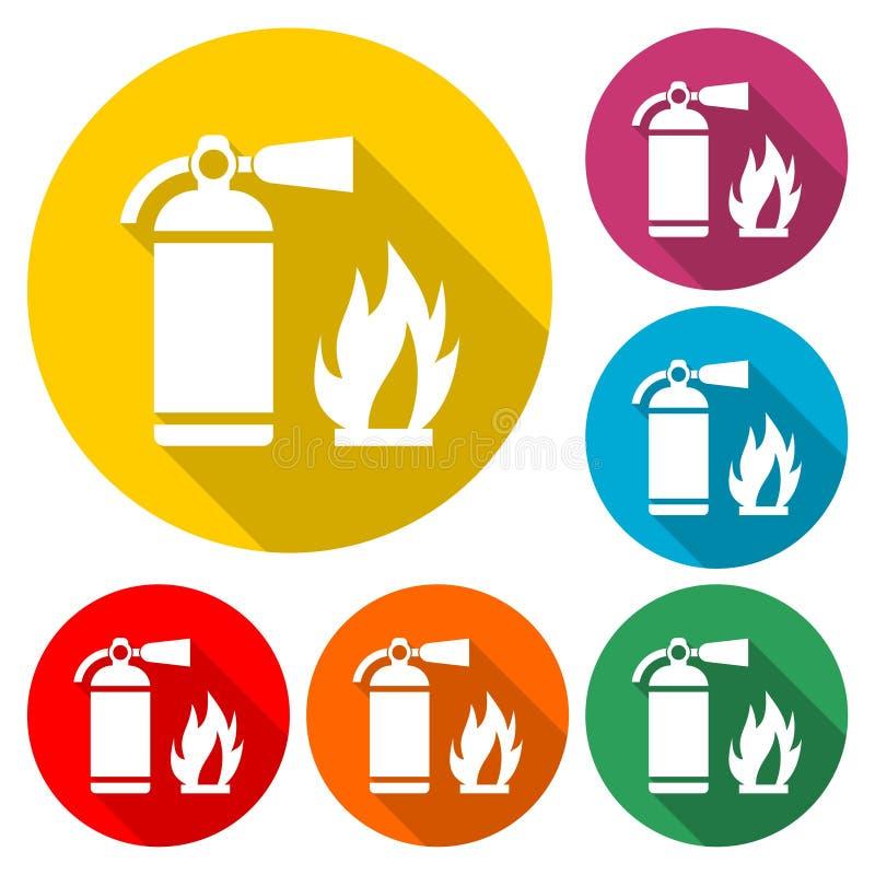 Mettez le feu au vecteur de signe, l'icône d'extincteur, icône de couleur avec la longue ombre illustration libre de droits