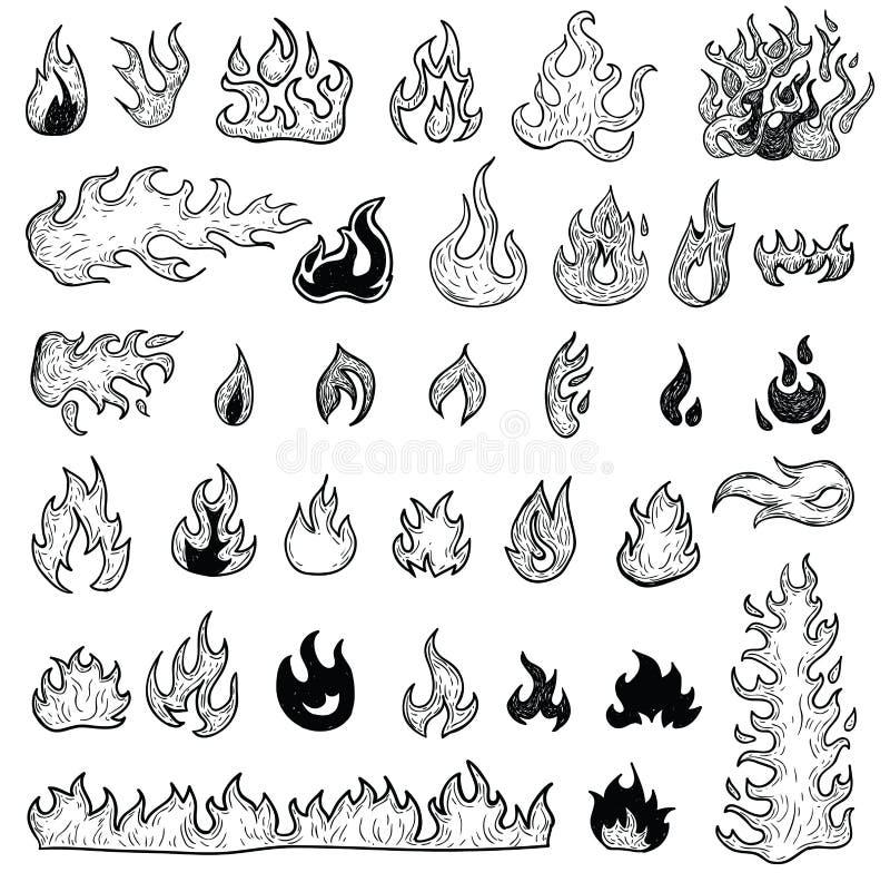 Mettez le feu aux flammes, placez les icônes, illustration de vecteur illustration libre de droits