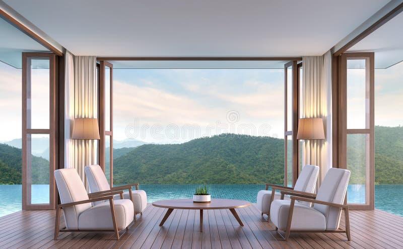 Mettez le salon en commun de villa avec l'image de rendu du Mountain View 3d illustration de vecteur