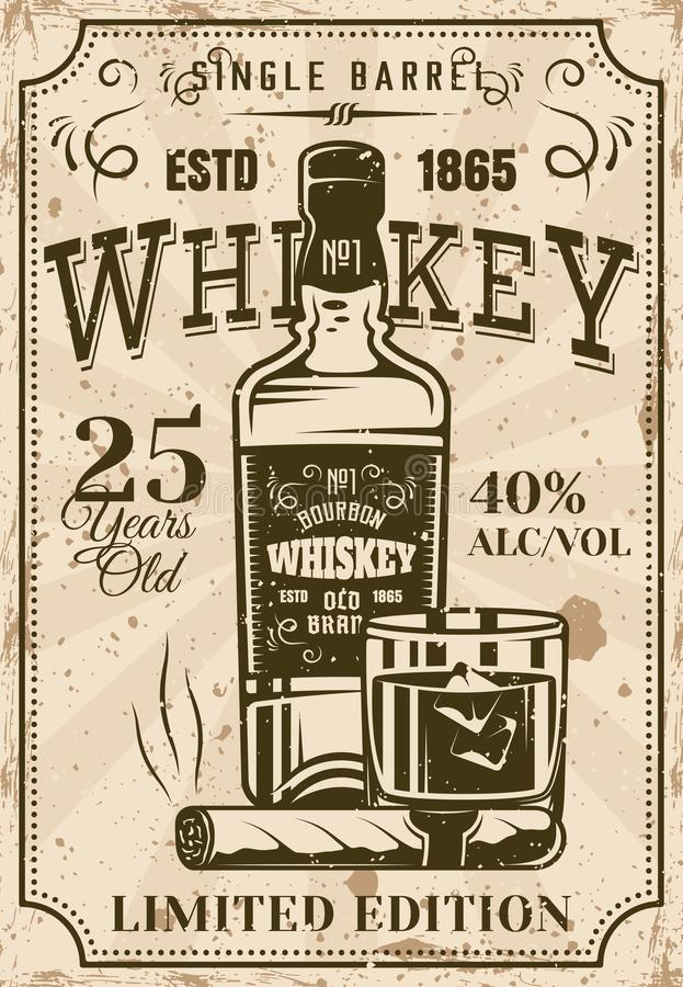 Mettez le whiskey en bouteille avec le verre, affiche de vintage de cigare illustration de vecteur