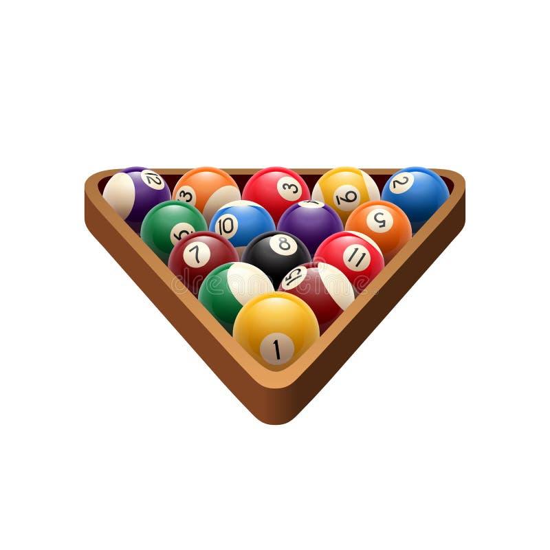 Mettez les boules en commun de billards dans l'icône de jeu de vecteur de triangle illustration de vecteur