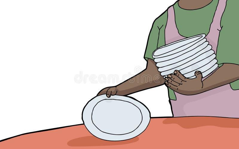 Mettre la table illustration de vecteur