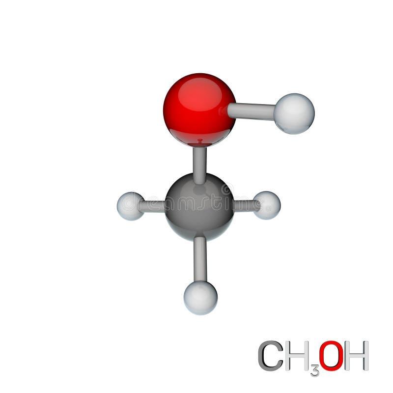 Metylalkoholmodellmolekyl bakgrund isolerad white 3d som f?ster den l?tta redigerande mappillustrationen ihop, inkluderade banafr vektor illustrationer
