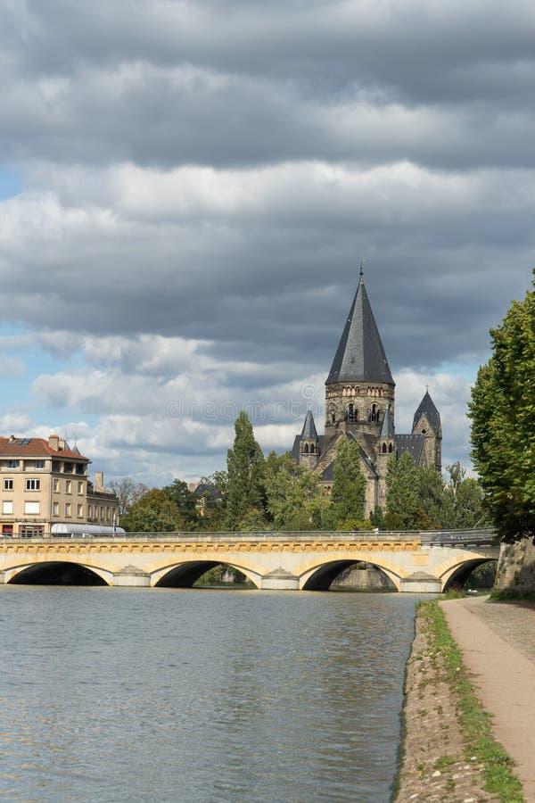 METZ, FRANCE L'EUROPE - 24 SEPTEMBRE : Vue de temple Neuf à Metz images stock