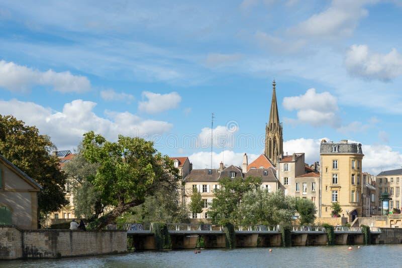 METZ, FRANCE L'EUROPE - 24 SEPTEMBRE : Vue vers la cathédrale de S images libres de droits