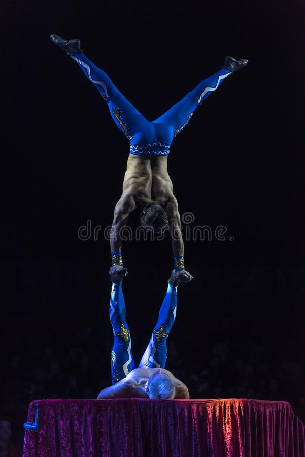 Acrobat gymnaste performance stock image