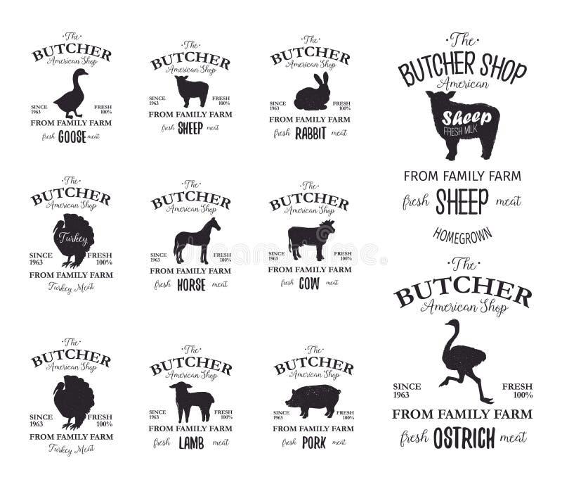 Metzger-American Shop-Aufkleber entwerfen Satz mit Strauß, Truthahnvogel, Pferd, Kuh, Lamm Vieh-Schmutzlogoschablonen lizenzfreie abbildung