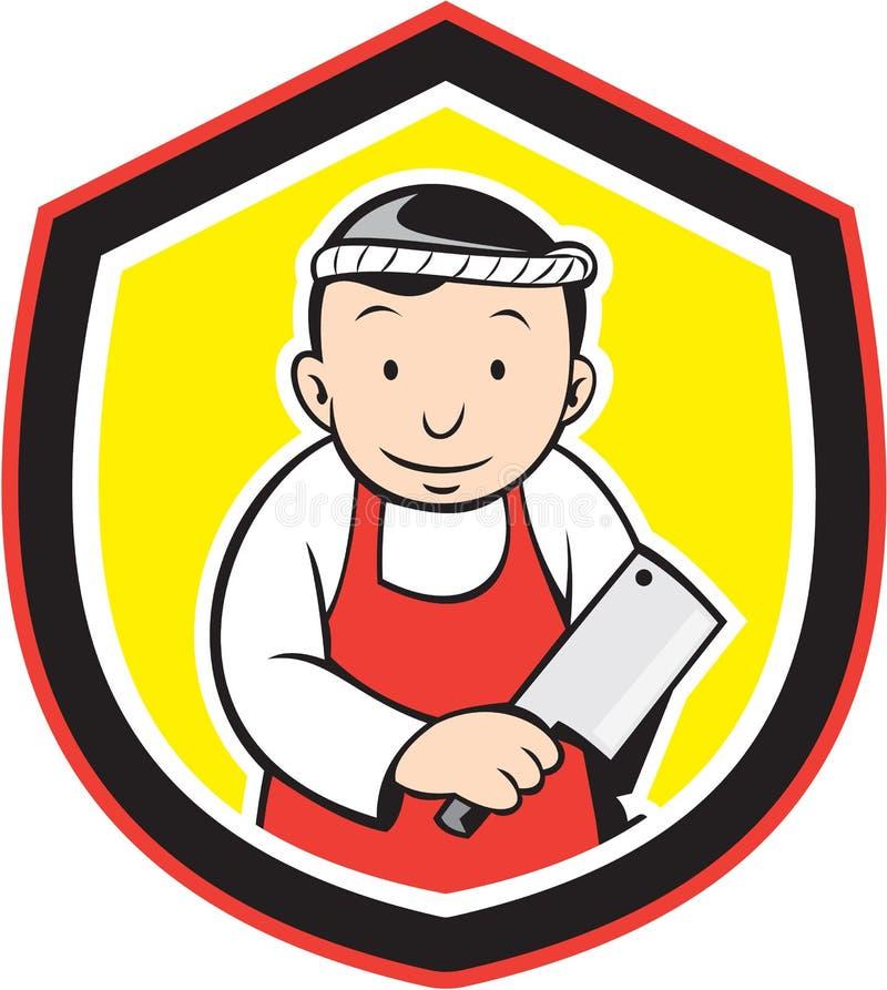 Metzger-Holding Meat Cleaver-Karikatur lizenzfreie abbildung