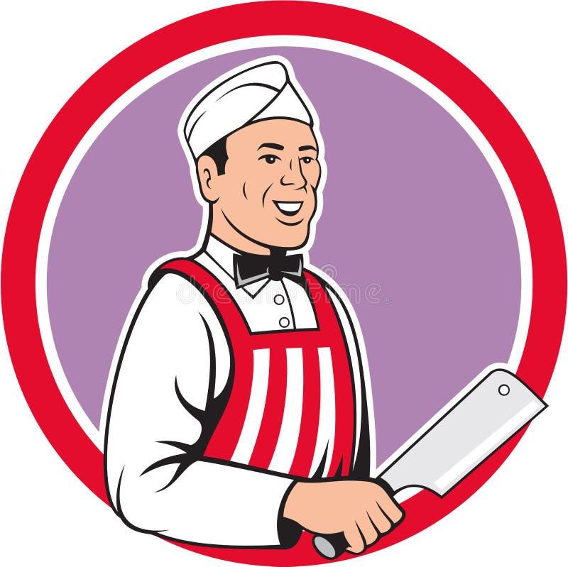 Metzger-Holding Meat Cleaver-Kreis-Karikatur lizenzfreie abbildung