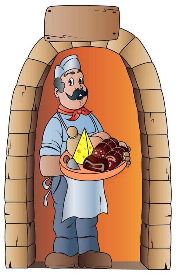 Metzger mit typischer Nahrung stockfoto